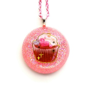 Pink Resin Cupcake Necklace