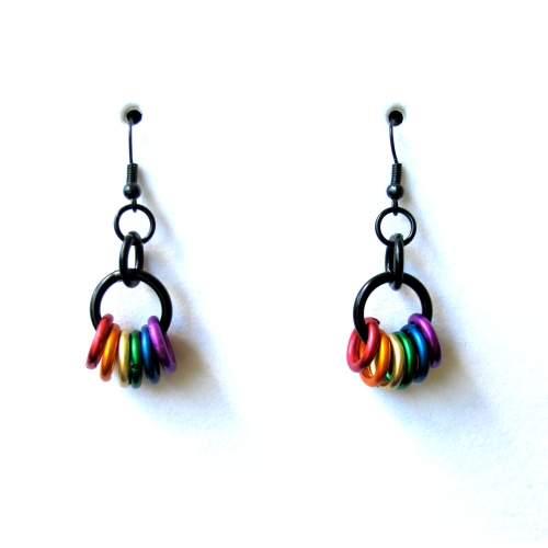 Gay Pride Chainmail Earrings