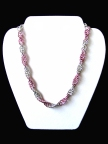 Pink and Silver Chainmail Necklace