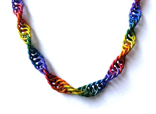 Gay Pride Hidden Helix Chainmail Necklace
