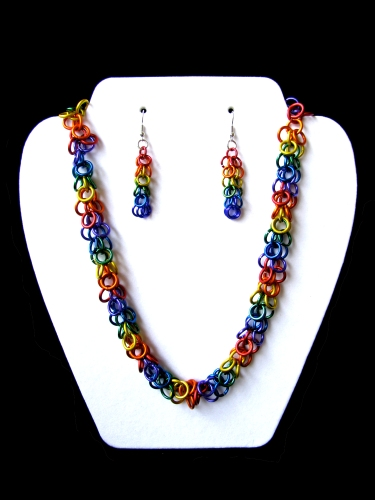 Gay Pride Necklace and Earrings