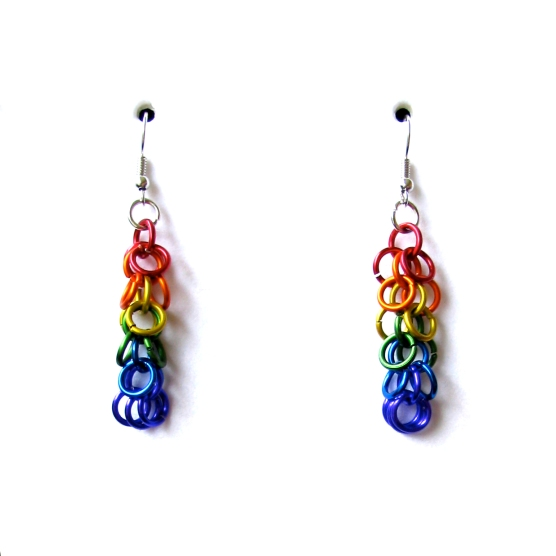 Gay Pride Chainmail Earrings - Shag