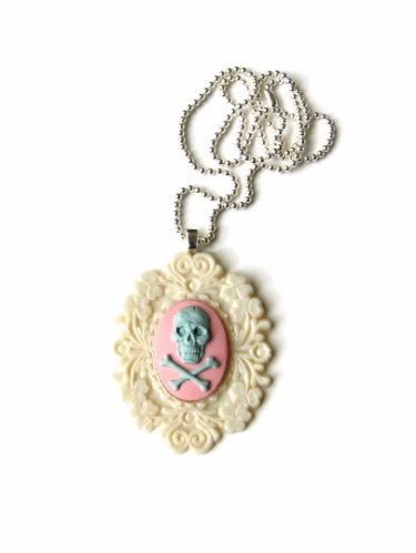 Pink and Blue Skull Cameo Necklace