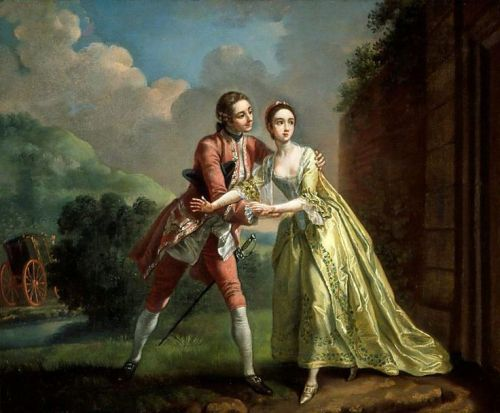 Robert Lovelace preparing to abduct Clarissa Harlowe, by Francis Hayman